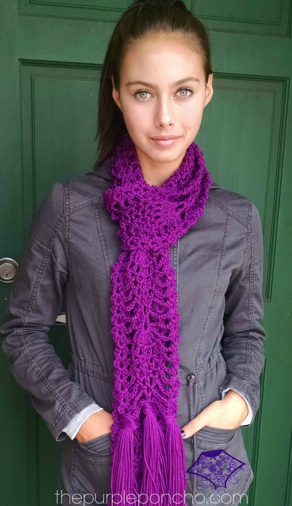 Pineapple Passion Scarf pattern by Carolyn Calderon the purpleponcho.com .jpg