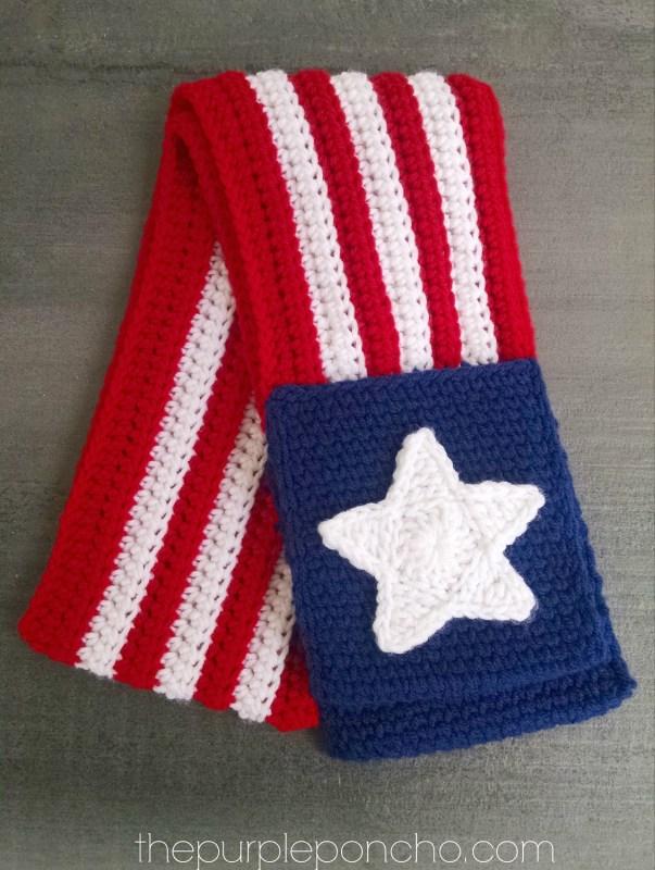Patriotic Pocket Scarf thepurpleponcho.com by Carolyn Calderon