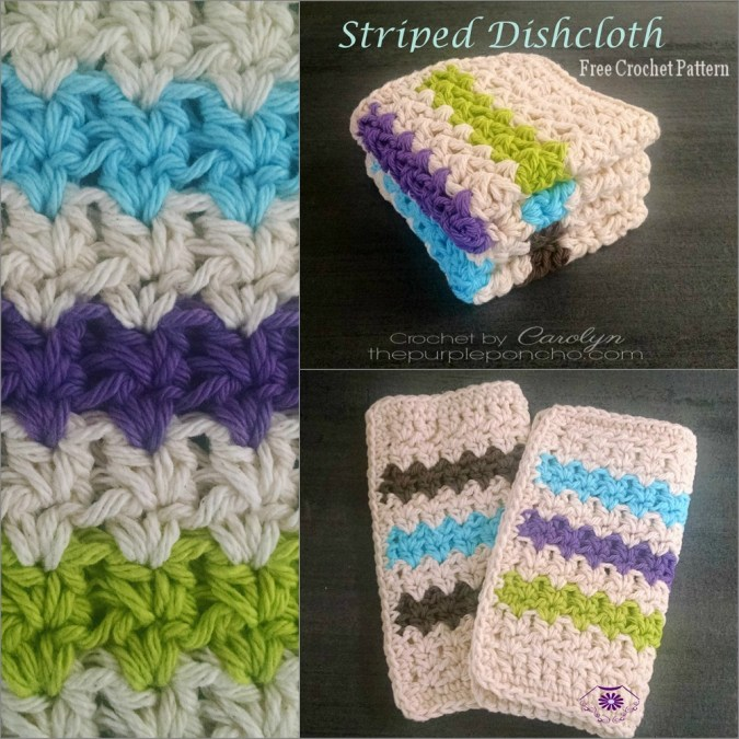 Striped Dishcloth Free Crochet Pattern The Purple Poncho