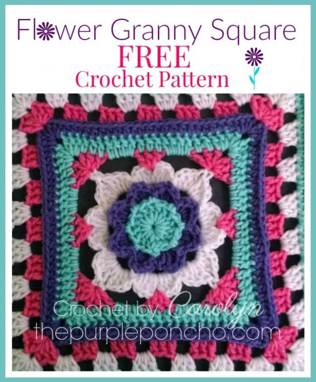 Flower Granny Square Free Crochet Pattern The Purple Poncho