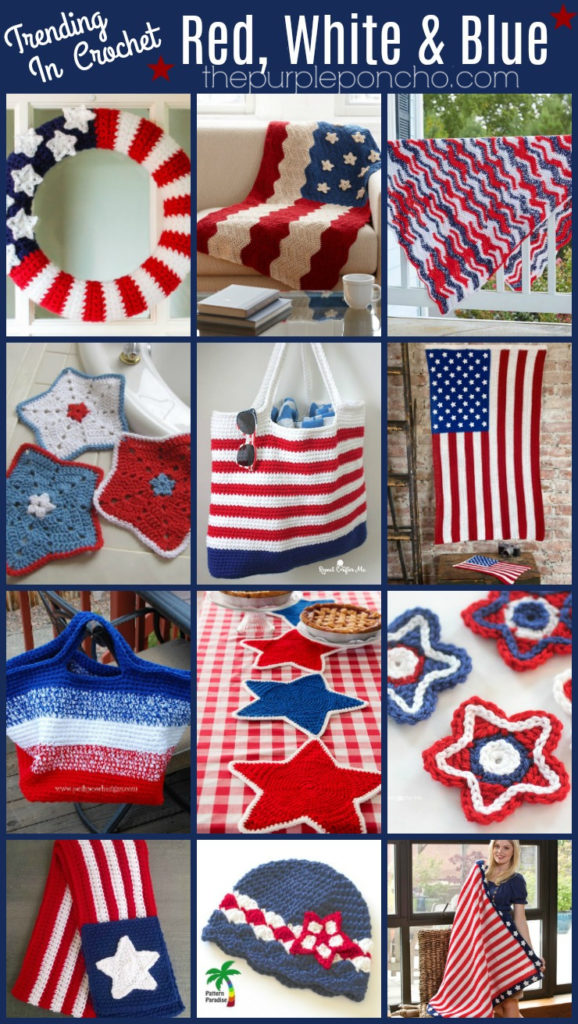Trending In Crochet Red White And Blue The Purple Poncho