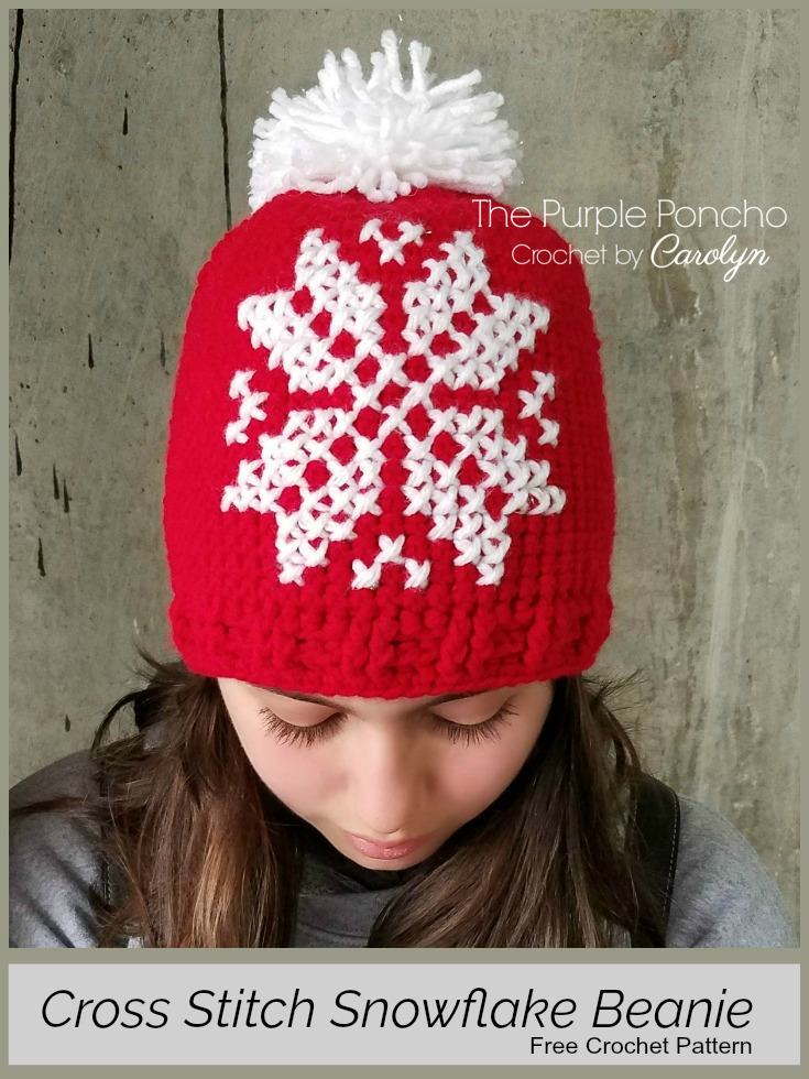 Cross Stitch Snowflake Beanie A Free Crochet Pattern The Purple Poncho