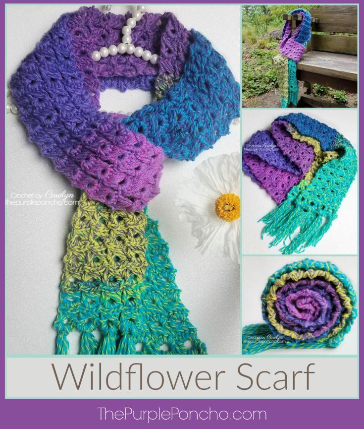 Broomstick Lace Wildflower Scarf Free Crochet Pattern The Purple