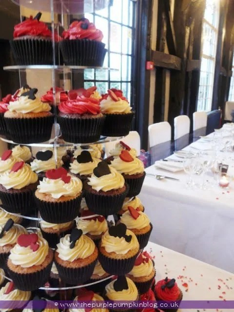Black and Red Heart Wedding Cupcakes
