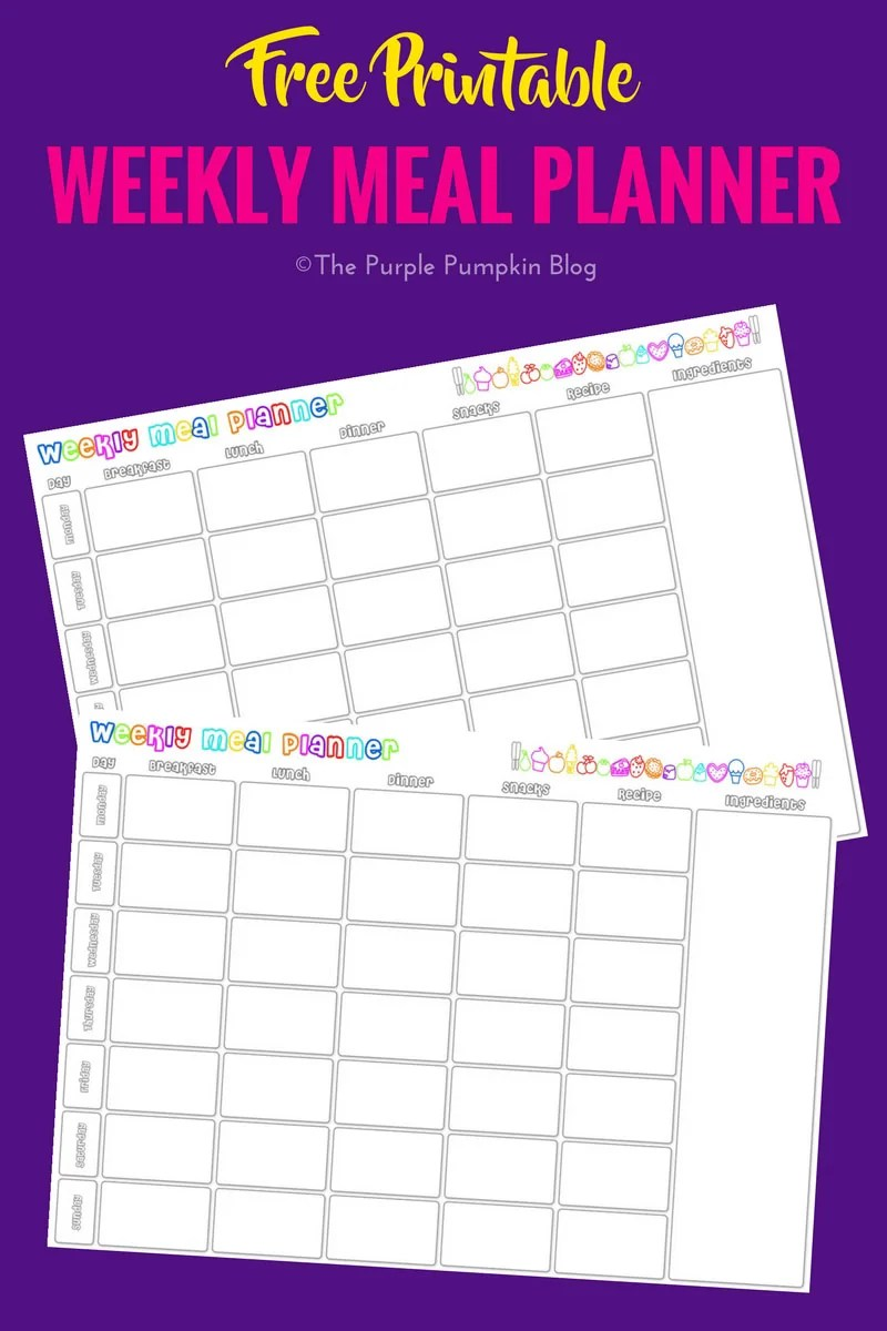 Weekly meal planner free printable for Online planner