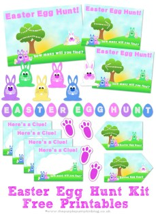 Free Printable Easter Egg Hunt Kit - everything you need to set up an Easter Egg Hunt at home! Plus loads more fun and FREE printables on this website.