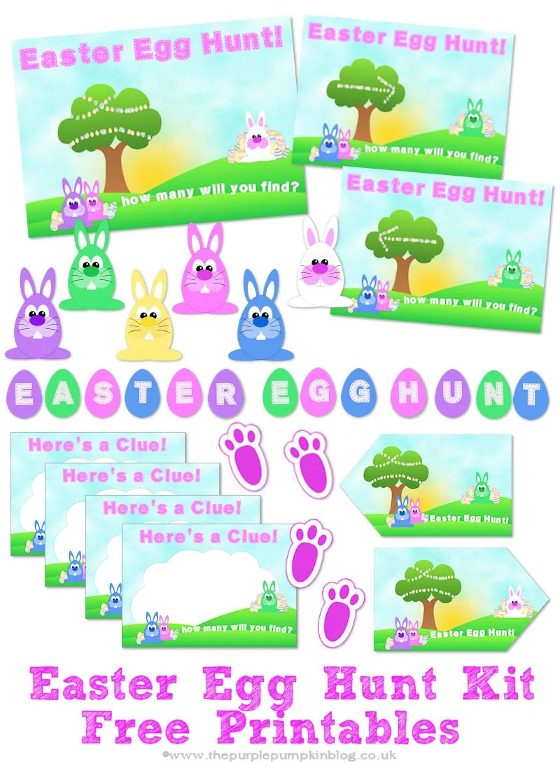 Free Printable Easter Egg Hunt Kit - everything you need to set up an Easter Egg Hunt at home! Plus loads more fun and FREE printables on this website!