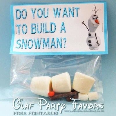 Frozen Olaf Snowman Party Favors Free Printables