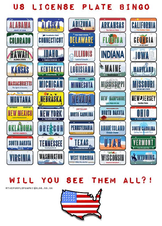 US License Plate Bingo Free Printable