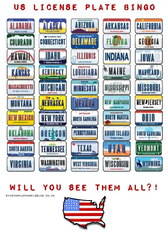 photograph about Printable License called US License Plate Bingo [Cost-free Printable]