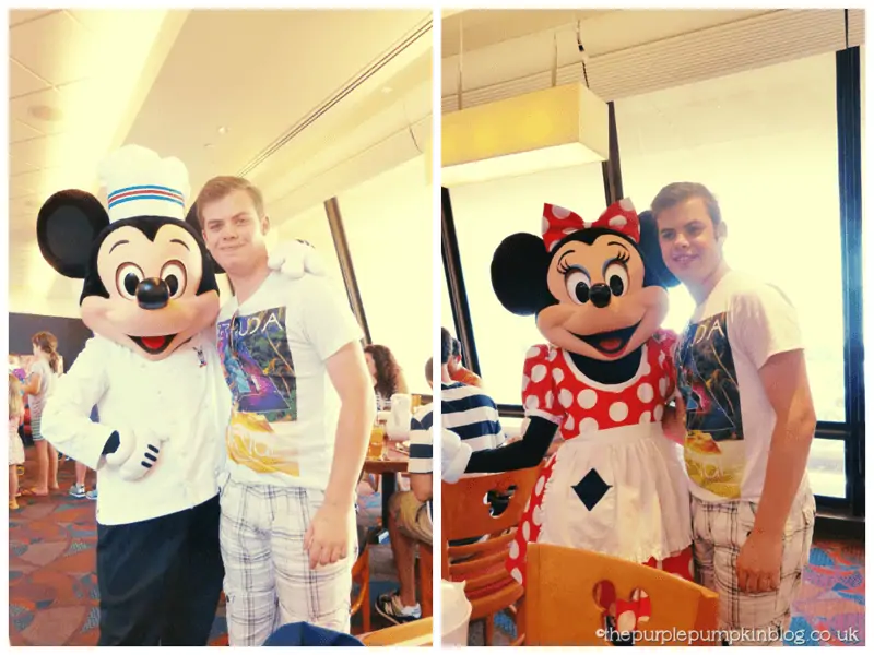 Meeting Mickey and Minnie at Chef Mickeys