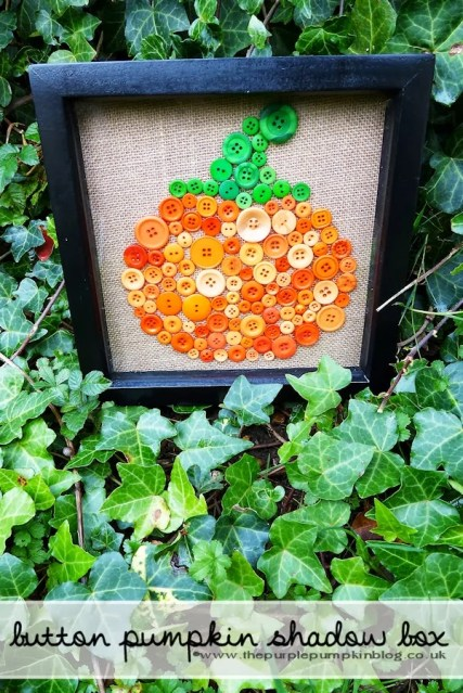 Button Pumpkin Picture Shadow Box