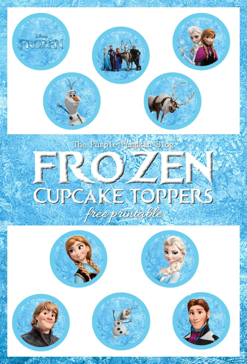 Frozen Cupcake Toppers Free Printable on The Purple Pumpkin Blog