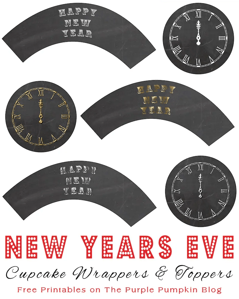 New Years Eve Cupcake Wrappers and Toppers