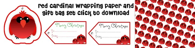 Red Cardinal Free Printable Wrapping Paper and Gift Tag Set Free Printable Download