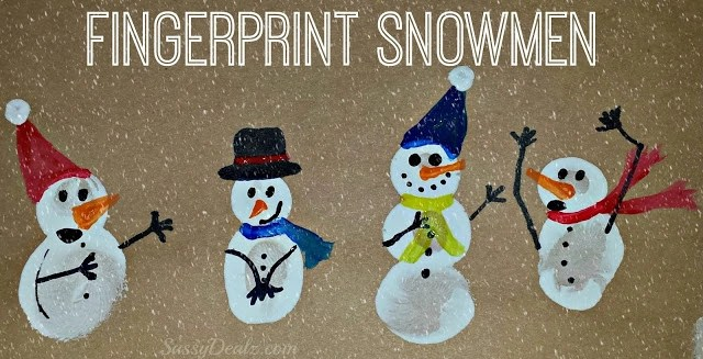 Fingerprint Snowmen Cards