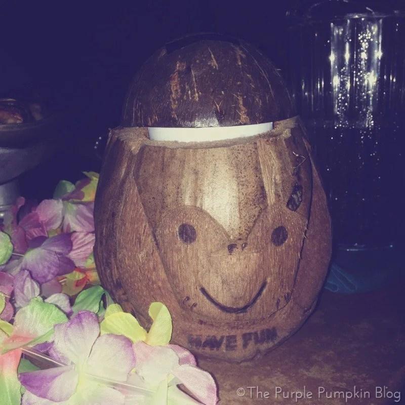 Coconut Monkey Head Cocktail at Spirit of Aloha Dinner Show at Disney Polynesian Resort
