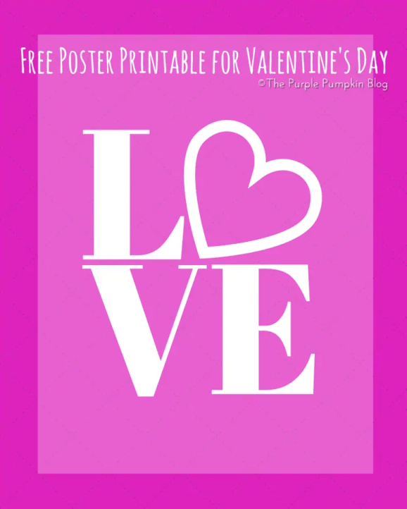 LOVE Poster Free Printable for Valentines Day