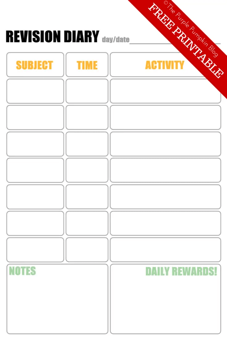 GCSE Revision Diary Free Printable - GCSE Revision Tips for Teens and their Parents. GCSEs are a stressful time for teens (and their parents) so I've put together some tips and free printables for getting through exam season.