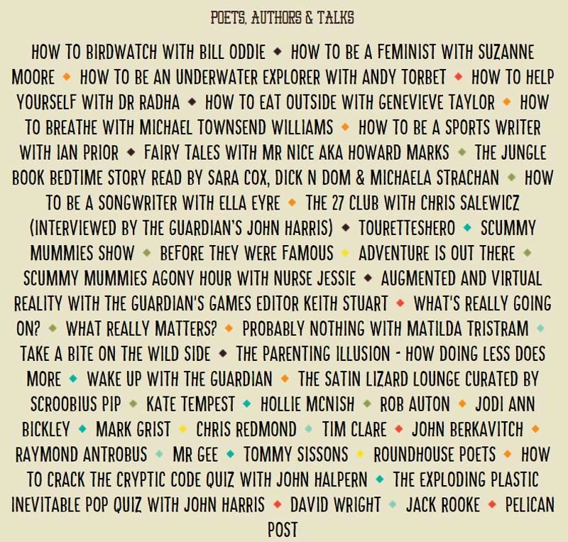 Camp Bestival Poets Authors and Talks 2015