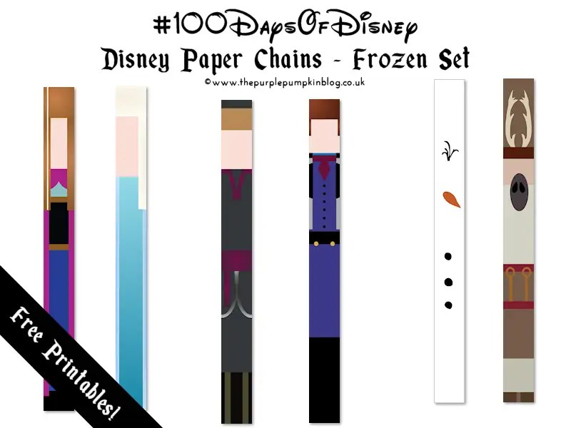 Disney Paper Chains - Frozen Set - Free Printable onThe Purple Pumpkin Blog. These are great for decorating a Disney Party, or using as a countdown for a Disney vacation!