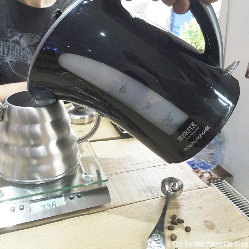 Weighing Hot Water for Chemex