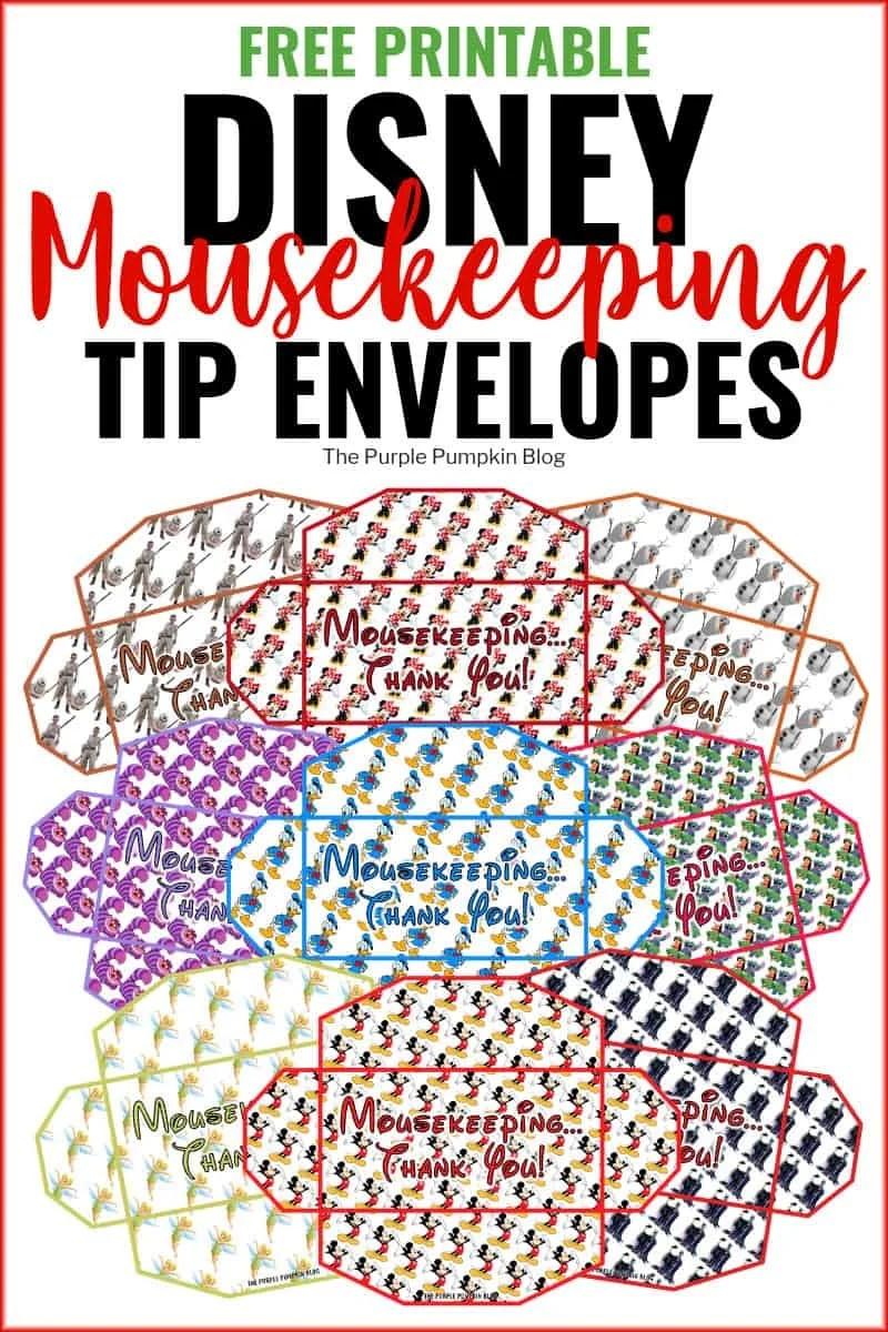 image relating to Disney Dollars Printable identified as No cost!! Disney Mousekeeping Envelopes Printables for Strategies