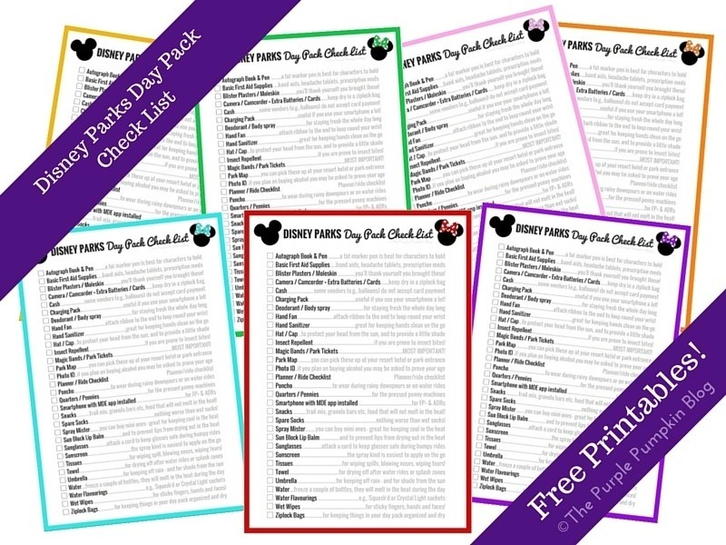 Disney Parks Day Pack Check List - Free Printables