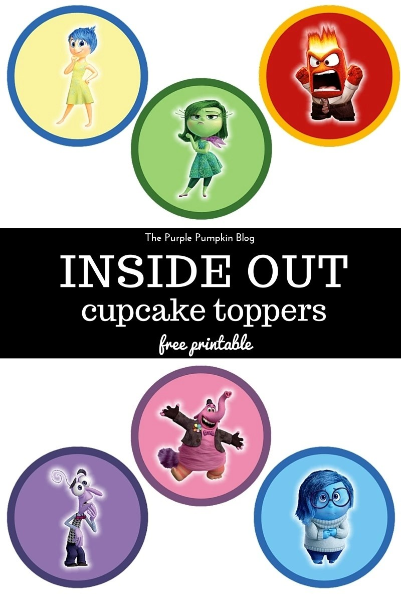 Inside Out Cupcake Toppers - Free Printable. These are AWESOME for a Disney Pixar Inside Out themed birthday party! Just print and cut as many as you need! Plus loads more awesome free Disney printables on this site!