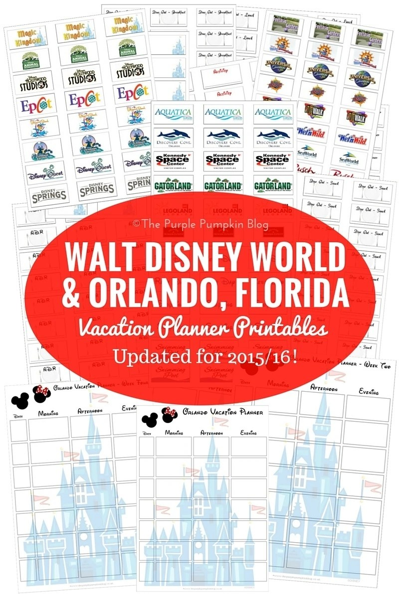 Walt Disney World + Orlando, Florida Vacation Planning Printables - these are great for planning out the days for your family vacations to Disney! Don't plan your holiday without it! Loads more great free Disney printables on this site too.