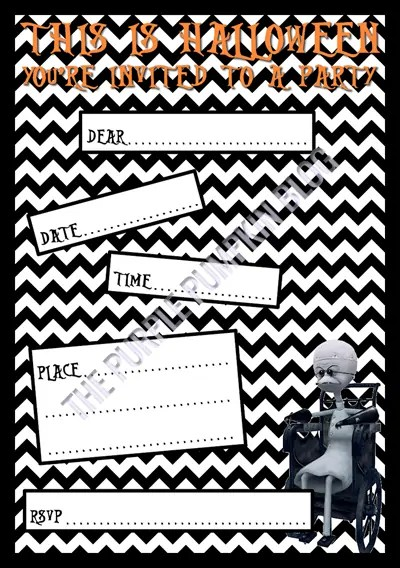 Halloween Party Invitations - Free Printable - The Nightmare Before Christmas - Dr Finkelstein