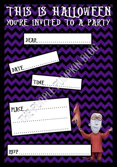Halloween Party Invitations - Free Printable - The Nightmare Before Christmas - Lock