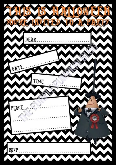 Halloween Party Invitations - Free Printable - The Nightmare Before Christmas - Mayor