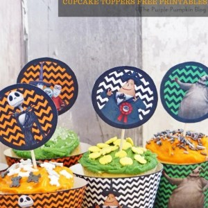 Halloween Cupcake Toppers - The Nightmare Before Christmas. Free printables, plus matching Halloween party items on this blog!