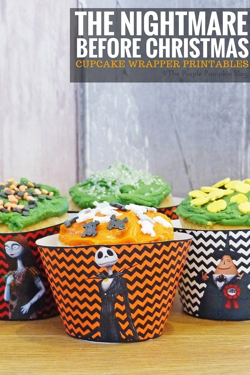 Halloween Cupcake Wrappers - The Nightmare Before Christmas. Free printables, plus matching Halloween party items on this blog!