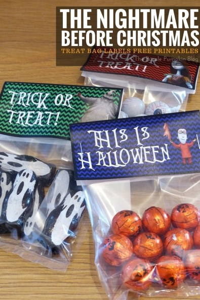 Treat Bag Labels - The Nightmare Before Christmas. Free printables, plus matching Halloween party items on this blog!