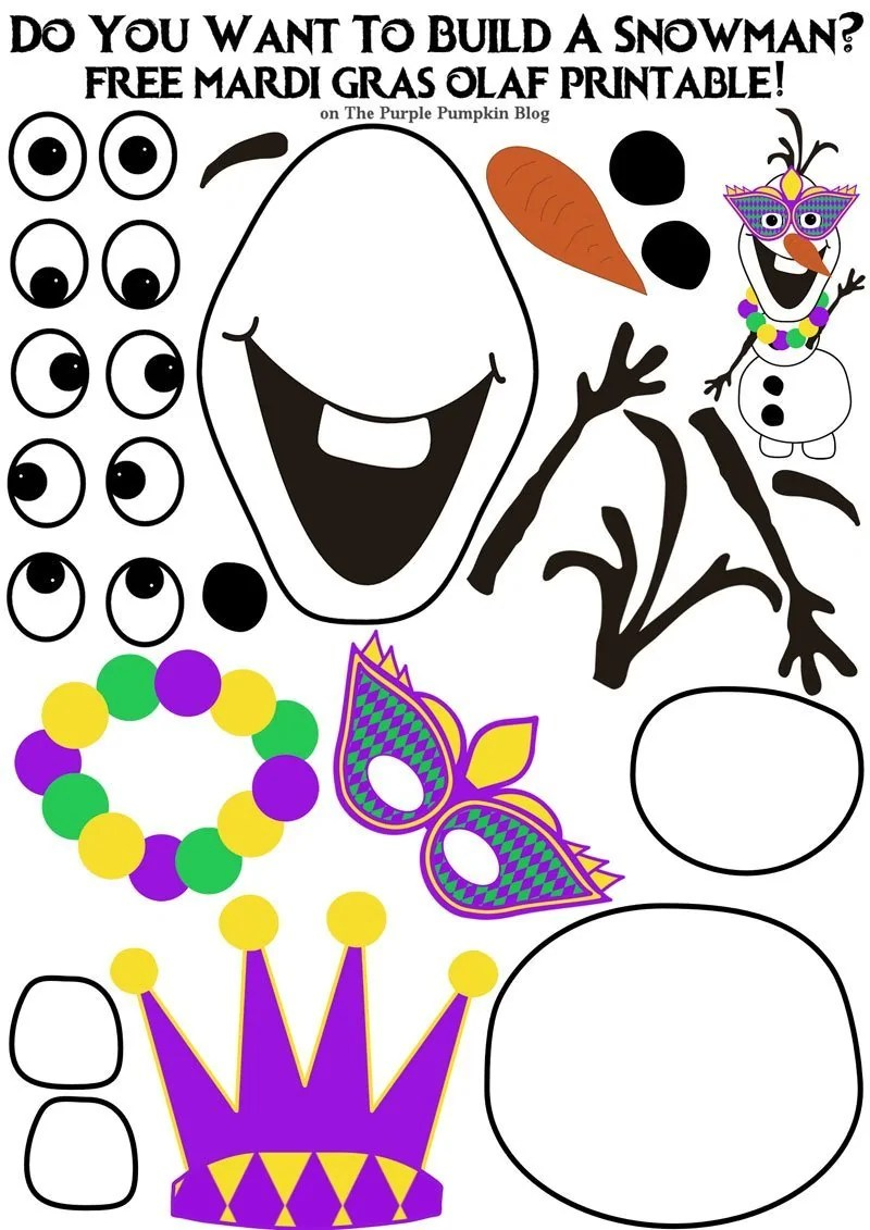 Do You Want To Build A Snowman - Free Olaf Printable - Mardi Gras Edition