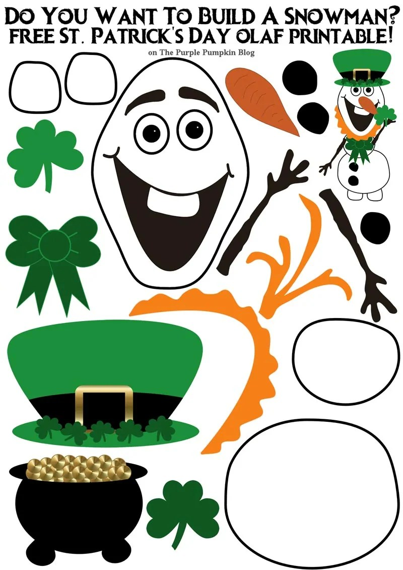 photograph about Do You Want to Build a Snowman Printable named Do On your own Require In direction of Produce A Snowman? St. Patricks Working day Olaf Variation