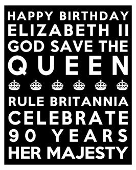 Queen's 90th Birthday Free Printable Subway Art Poster - Black