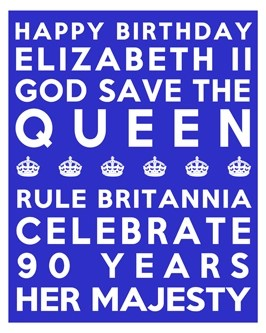 Queen's 90th Birthday Free Printable Subway Art Poster - Blue