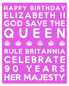 Queen's 90th Birthday Free Printable Subway Art Poster - Pink