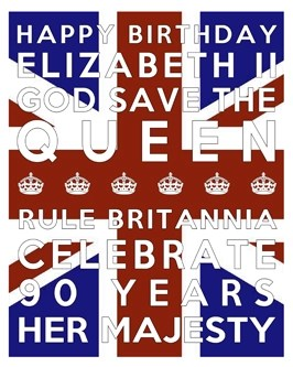Queen's 90th Birthday Free Printable Subway Art Poster - Union Jack