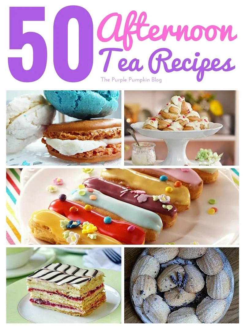 50 Afternoon Tea Recipes - from finger sandwiches, and savoury tarts, to scones, cakes, pastries, and patisserie. All the recipes you'll need to host an afternoon tea party!
