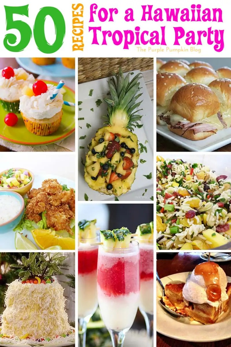 50 Recipes for a Hawaiian Tropical Party. All the food & drink ideas you need from burgers, salads, and pork dishes, to desserts and drinks, there is a Hawaiian Tropical recipe for all!