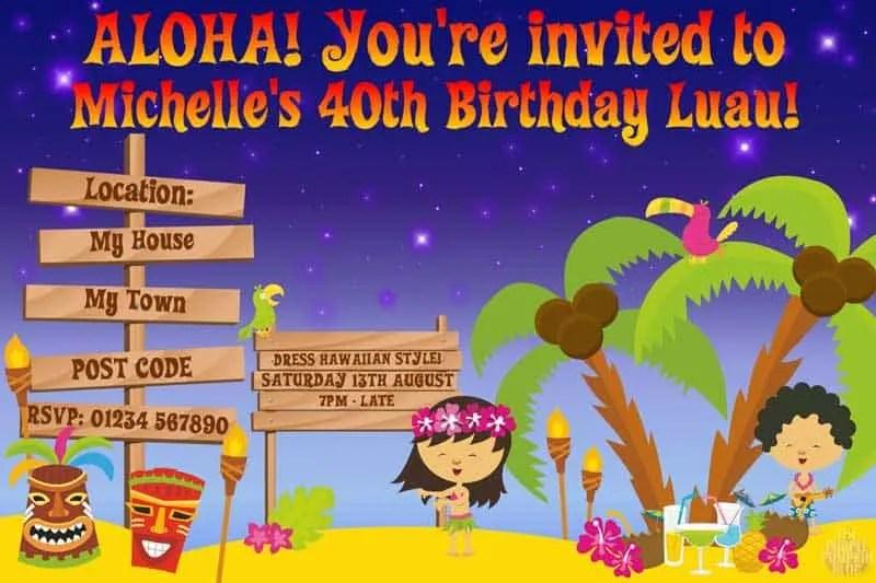 Hawaiian Luau Invitations Idea