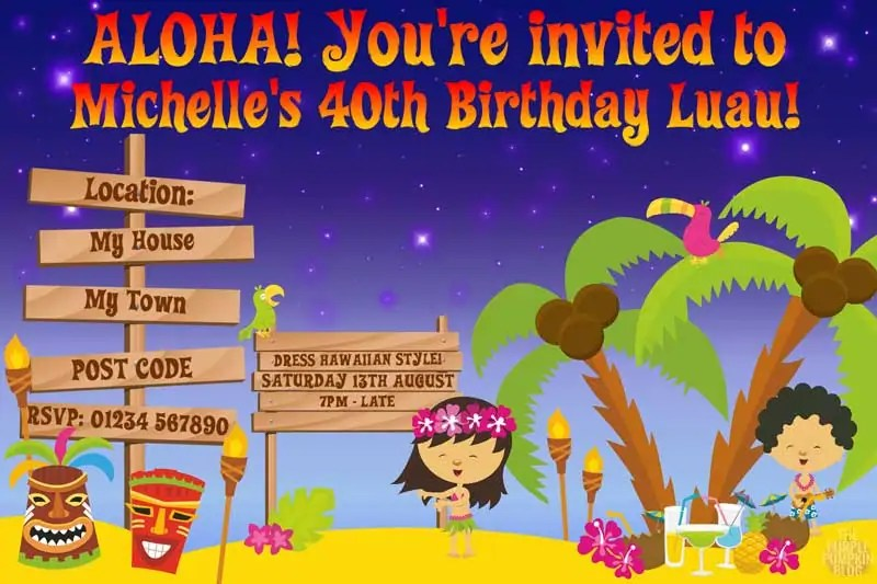 Hawaiian Luau Invitations Idea