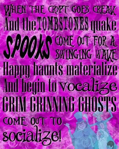 Grim Grinning Ghosts - The Haunted Mansion Poster - Free Printable (Pink)