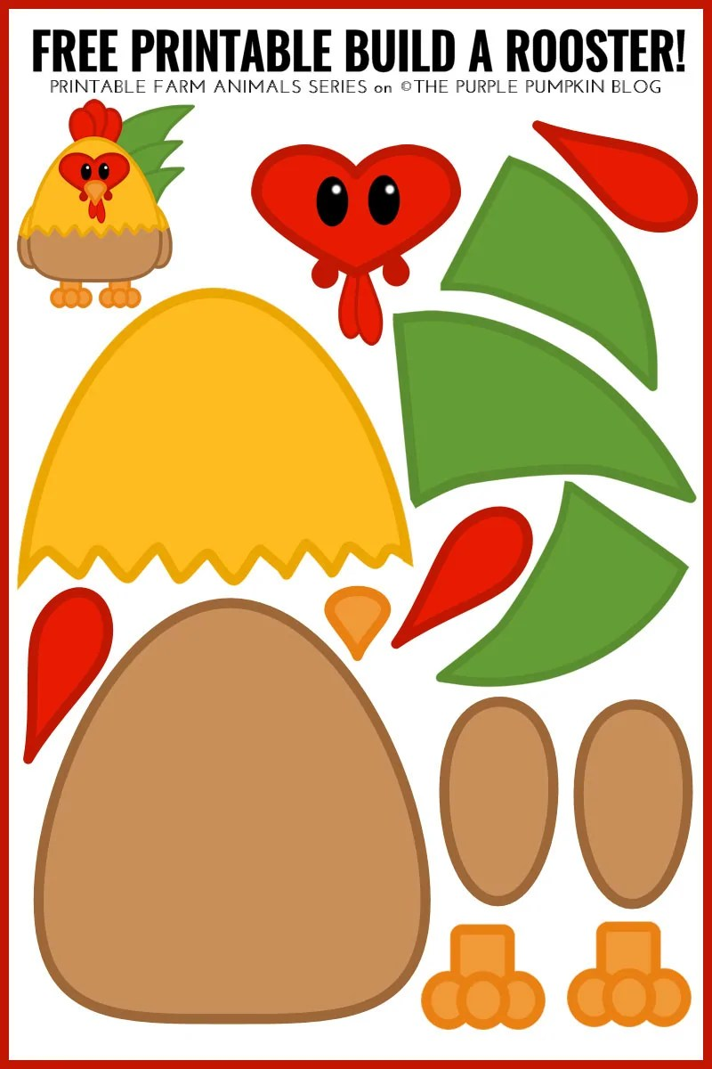 Free Printable Build A Rooster - Fun Farm Animals Series! Just print, cut, and build a rooster! Great for kids to help with cutting, sticking, and learning about animals.