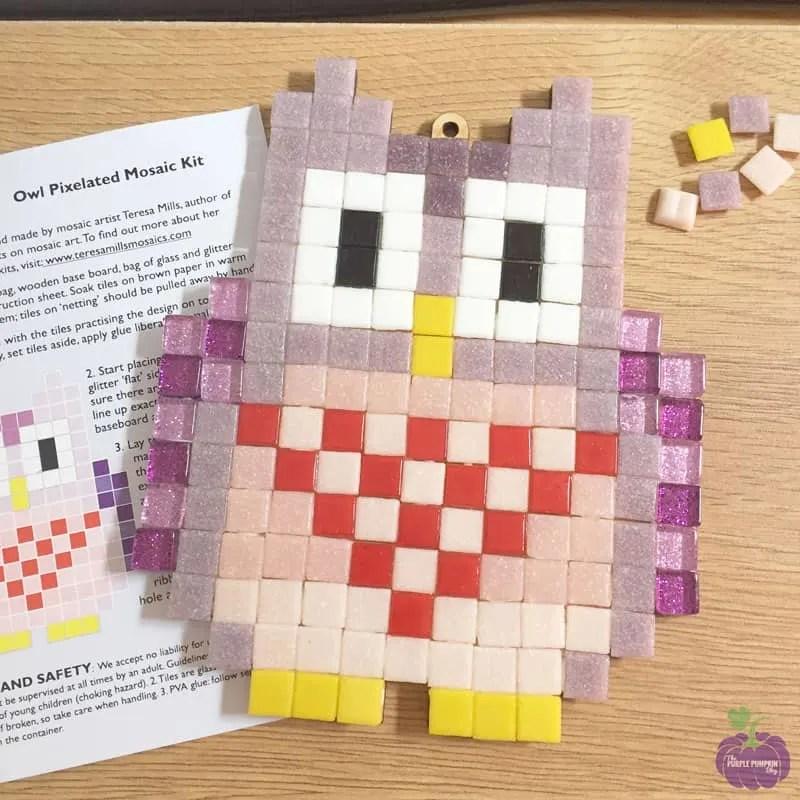 Finished mosaic - Pixelated Mosaic Kit - Owl