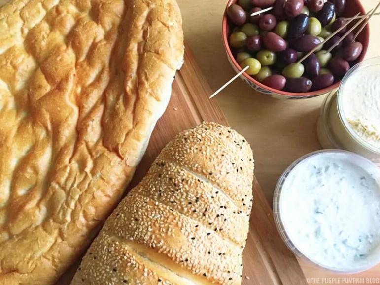 Greek Bread, Olives + Dips